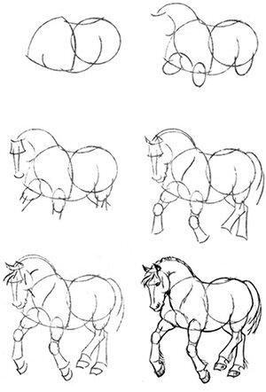 А вот рисунок лошади
