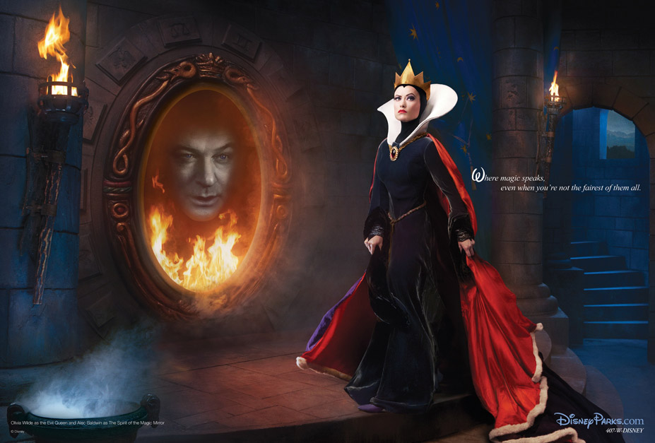 Disney's Year of a Million Dreams by Annie Leibovitz - Olivia Wilde and Alec Baldwin as Evil Queen and Spirit of the Magic Mirror / Оливия Уайлд и Алек Болдуин в образе Злой Королевы и Духа Волшебного Зеркала