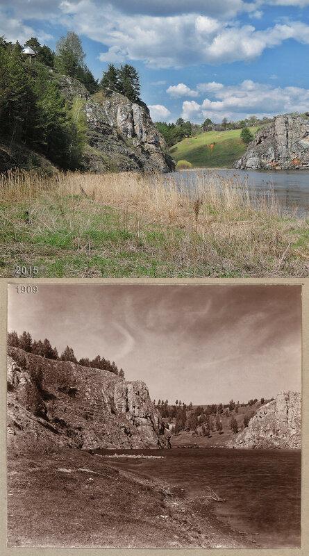 На реке Исети. Справа скала Три пещеры.