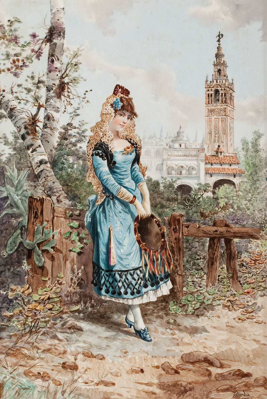 RAMON ALORDA PÉREZ (Spanish, 1848-1899) Young Spanish Woman in Cartuja Park, Seville, 1893
