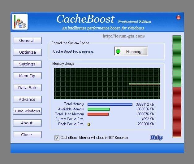 CacheBoost 4.0 - очищает RAM