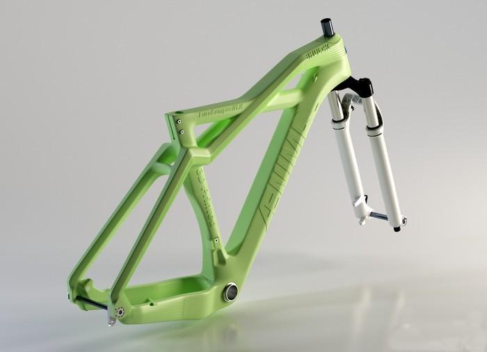 Уникальная велосипедная рама из пилопластика. Студия дизайна известная, как Eurocompositi придумала
