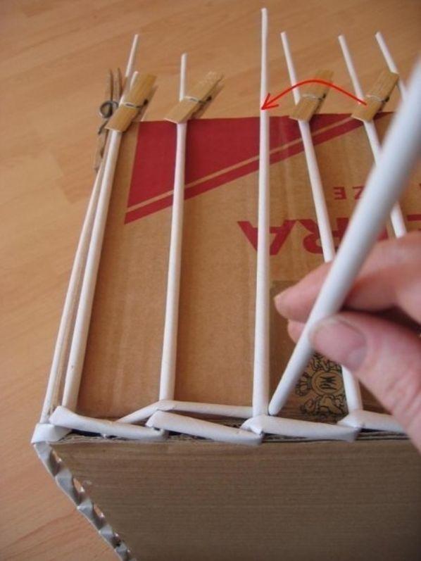Фото плетения из газетных трубочек пошагово