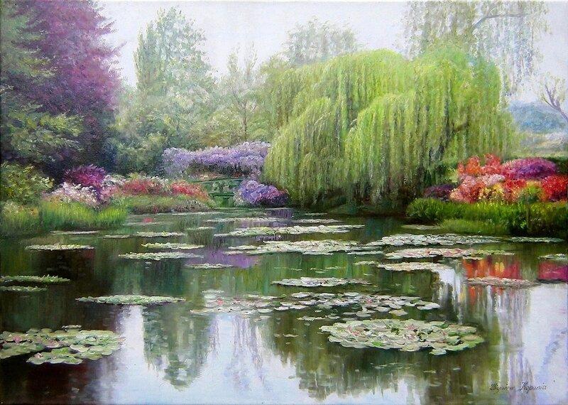 Утренний сад, пространство, где растут цветы. Художник Zbigniew Kopania