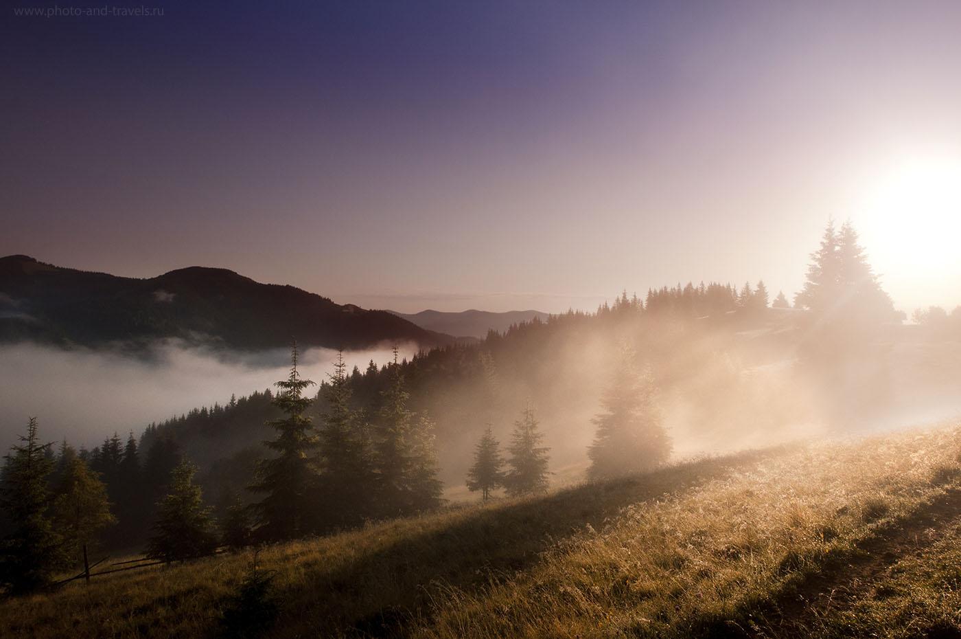 26. Рассвет в горах. Поможет ли нам новый фотоаппарат, если мы не умеем видеть кадр? Пример съемки на старенькую зеркалку Nikon D90 с объективом Tamron 10-24mm f/3.5-4.5 (1/1000, -0.67, f/10, 14, 200)