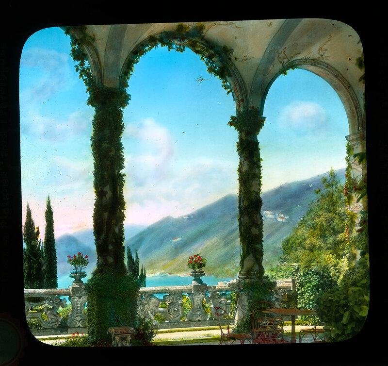 Lake Como. Villa Balbianello: view from under vaulted loggia