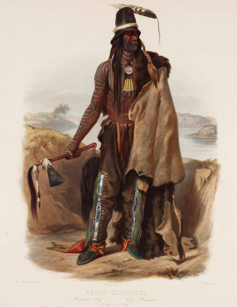 Вождь племени Minatarre - Karl Bodmer