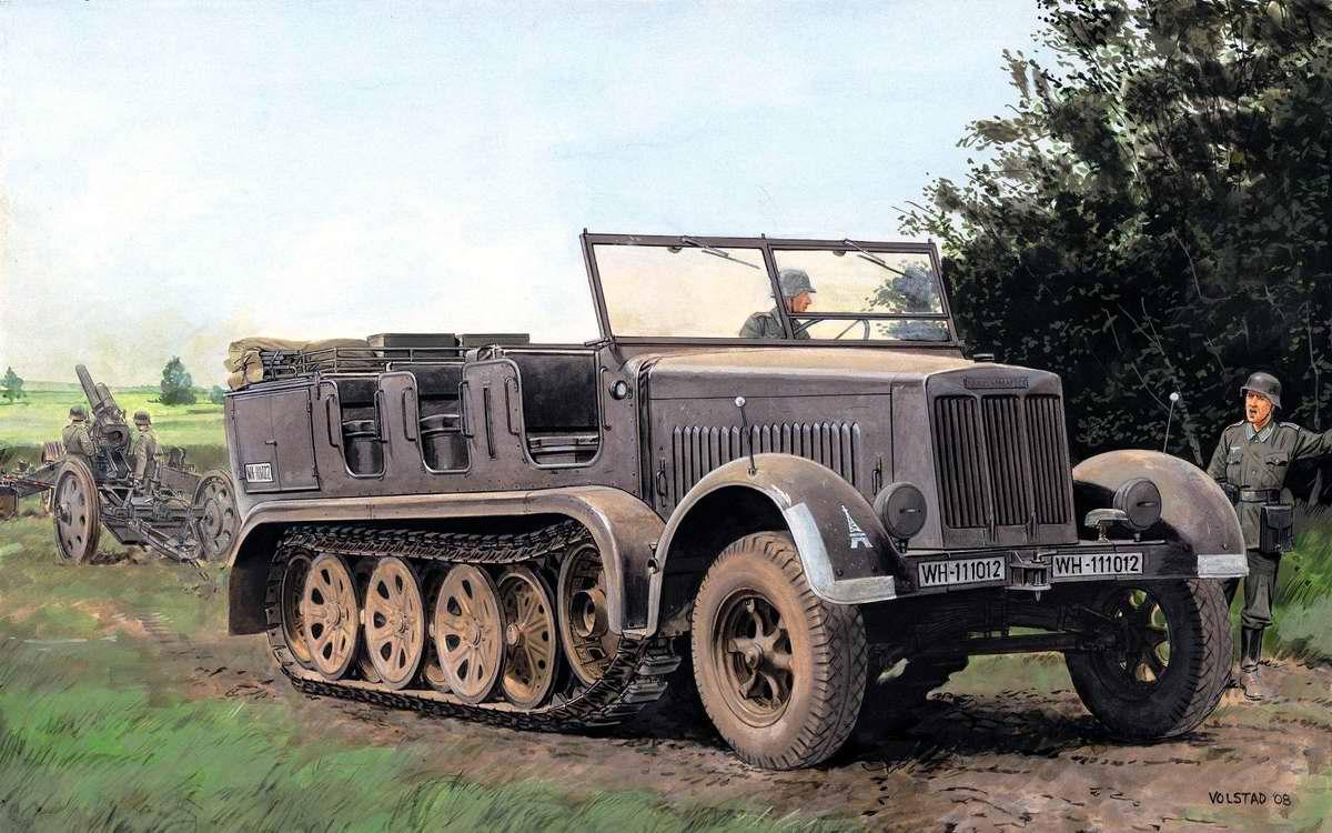 Немецкий полугусеничный тягач Sd Kfz 7 (Ron Volstad)