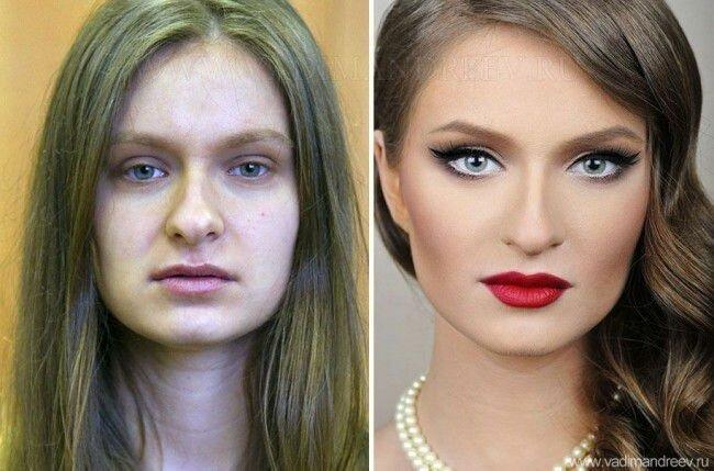 Девушки до и после макияжа (13 фото)