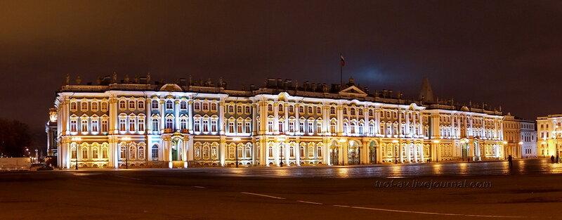 Ночная панорама Зимнего дворца (Эрмитажа) (1754-1762гг), Санкт-Петербург