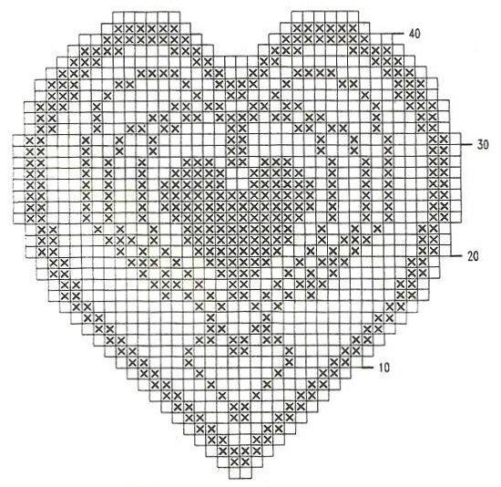 Салфетка - сердечко крючком. Филейное вязание