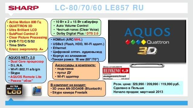 инструкция по применению к жк телевизору sharp lc-40le510ru