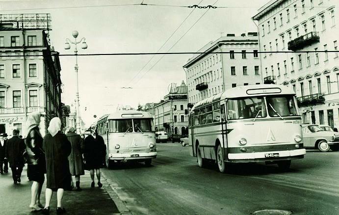 Leningrad. 1957. LAZ-695 buses on city streets
