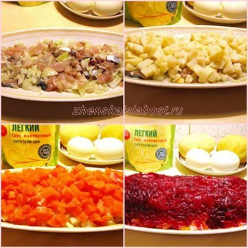 приготовление салата Сельдь по шубой