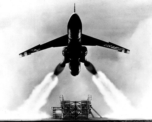 The Snark's powerful solid-rocket boosters burned for four seconds, bringing the missile's speed up to about 300 mph, then the empty booster casings dropped away as the jet engine took over. (U.S. Air Force photo)