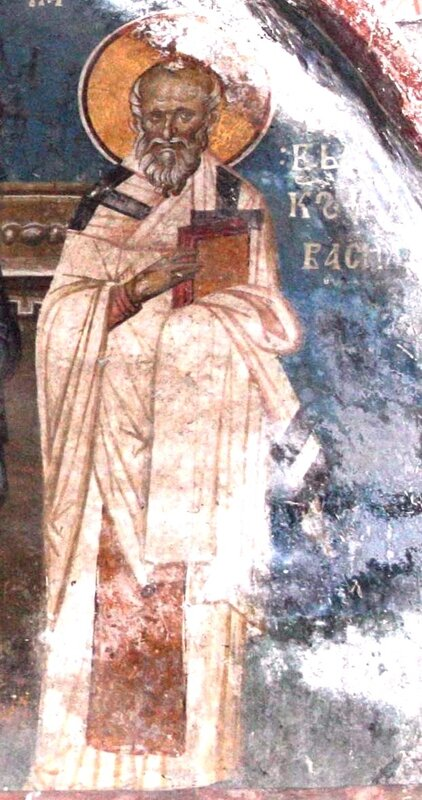 Священномученик Василий, Епископ Амасийский. Фреска монастыря Высокие Дечаны, Косово, Сербия. Около 1350 года.