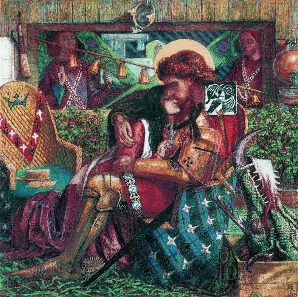 Россетти Данте Габриэль Свадьба Святого Георгия и принцессы Сабры 1857 бумага, акварель 34,3 х 34,3 Галерея Тейт, Лондон.jpg