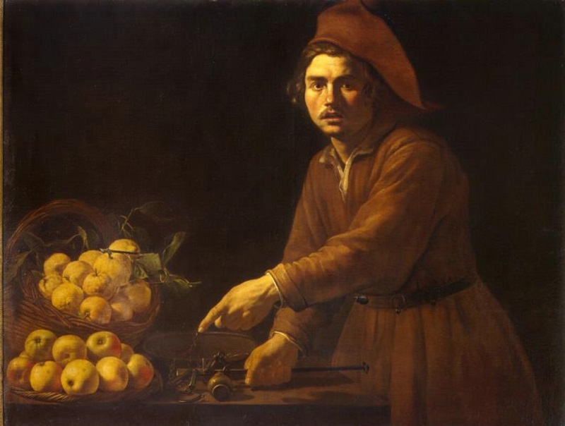 Продавец фруктов Бартоломео Манфреди ()  автор  Около 1615  холст, масло  116х158 см.jpg