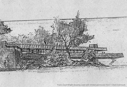 Дом над озером Махопак , эскиз, архитектор Фрэнк Ллойд Райт