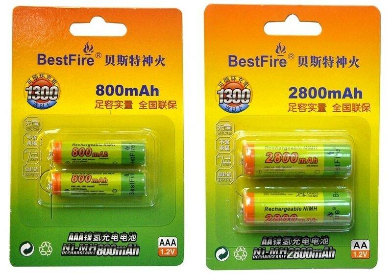 CninaBuye: Ni-Mh аккумуляторы BestFire 2800 mAh типа АА и 800 mAh типа ААА