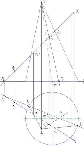 Задача по начертательной геометрии - построить (найти) точки пересечения прямой и конуса