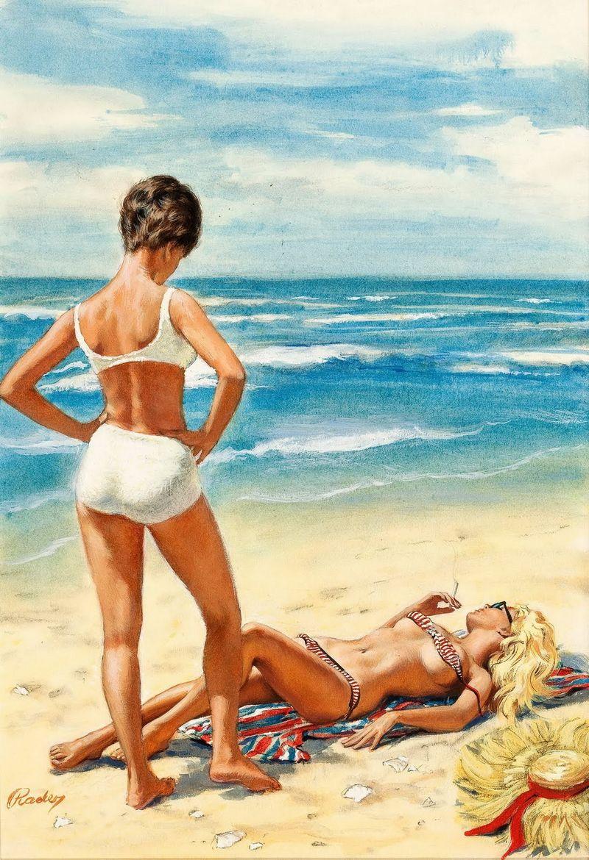 Девушка на пляже рисунок