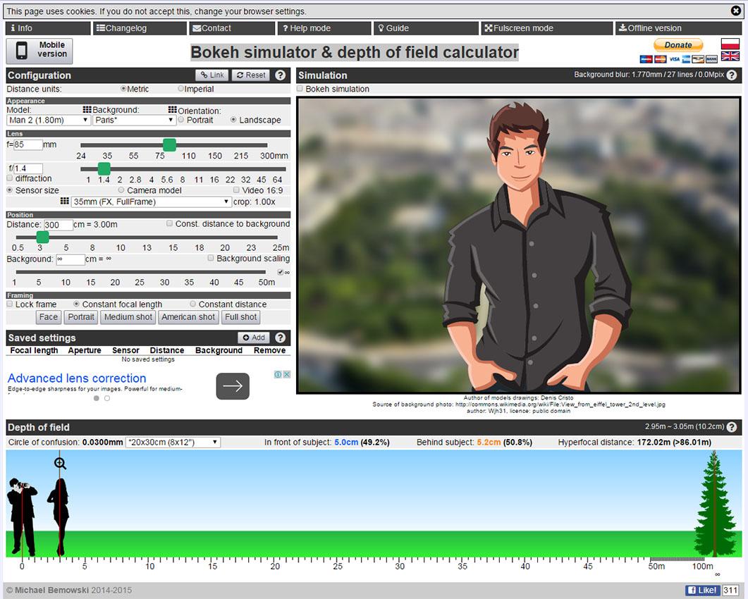 Изображение 3. Курсы для начинающих фотографов. Калькулятор ГРИП и симулятор боке позволяет легче понять, как размыть фон на фотографии.