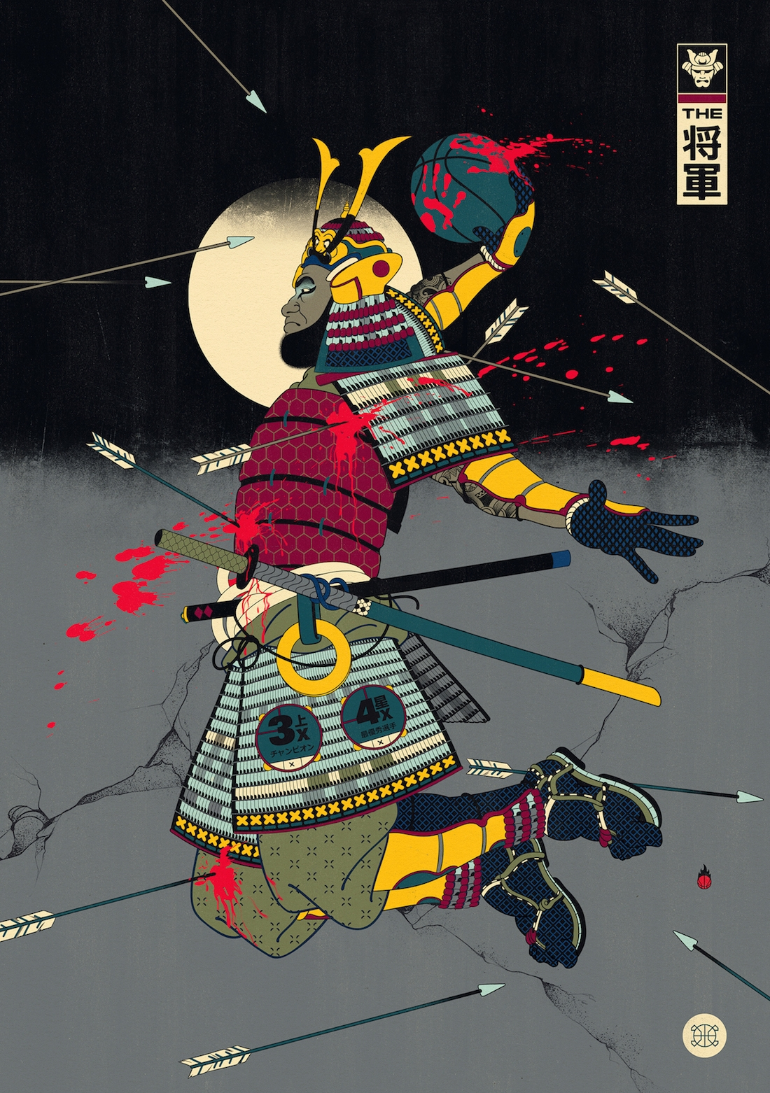 Illustrations Mixing Japanse Art & Basketball