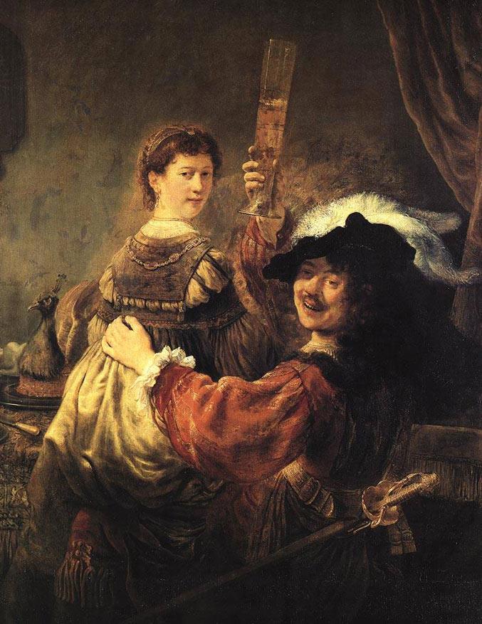 selfie / Self-portrait / Автопортрет с женой Саскией, Рембрандт ван Рейн / Rembrandt van Rijn, 1635