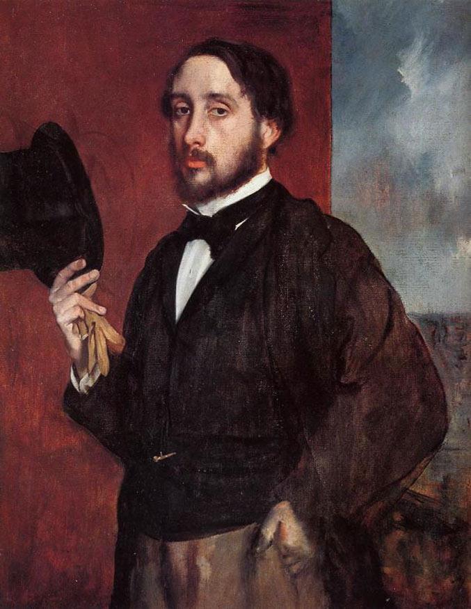 selfie / Self-portrait / Автопортрет с приветствием, Эдгар Дега / Edgar Degas, 1855–1856