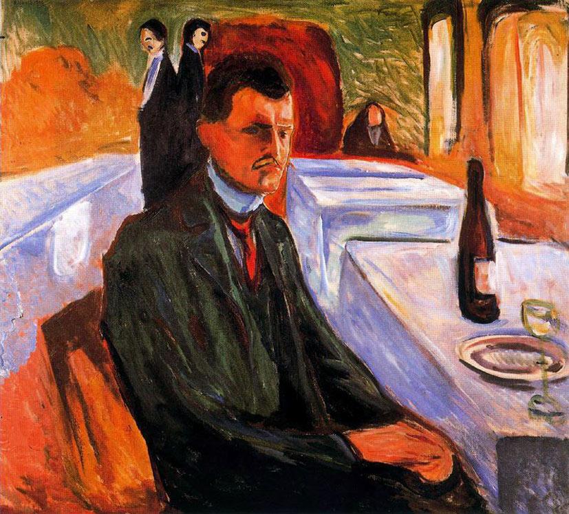 selfie / Self-portrait / Автопортрет с бутылкой вина, Эдвард Мунк / Edvard Munch, 1906