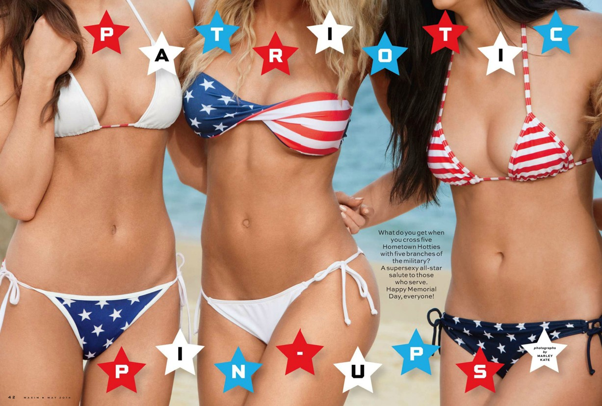 Patriotic pin-ups in Maxim US may 2014 by Marley Kate