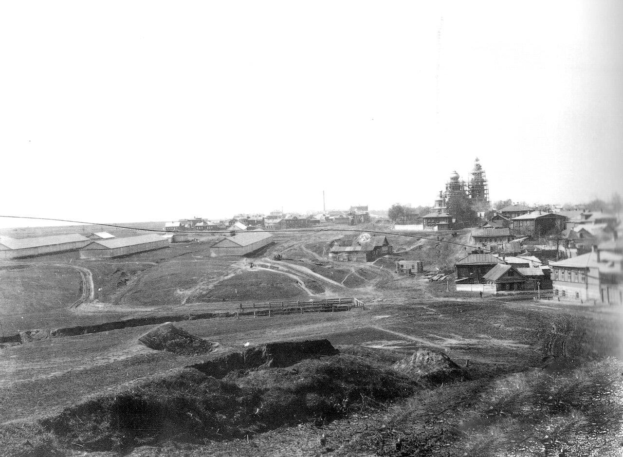 Строительство Спасской церкви, вид от Сенной, 1901