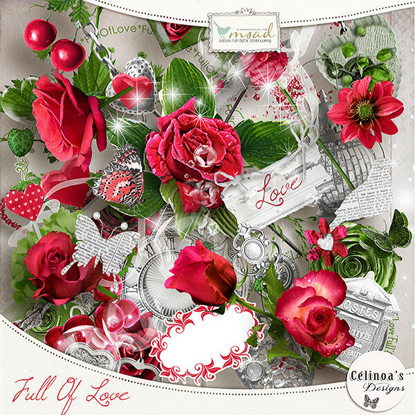 Распакованные скрап-наборы розы
