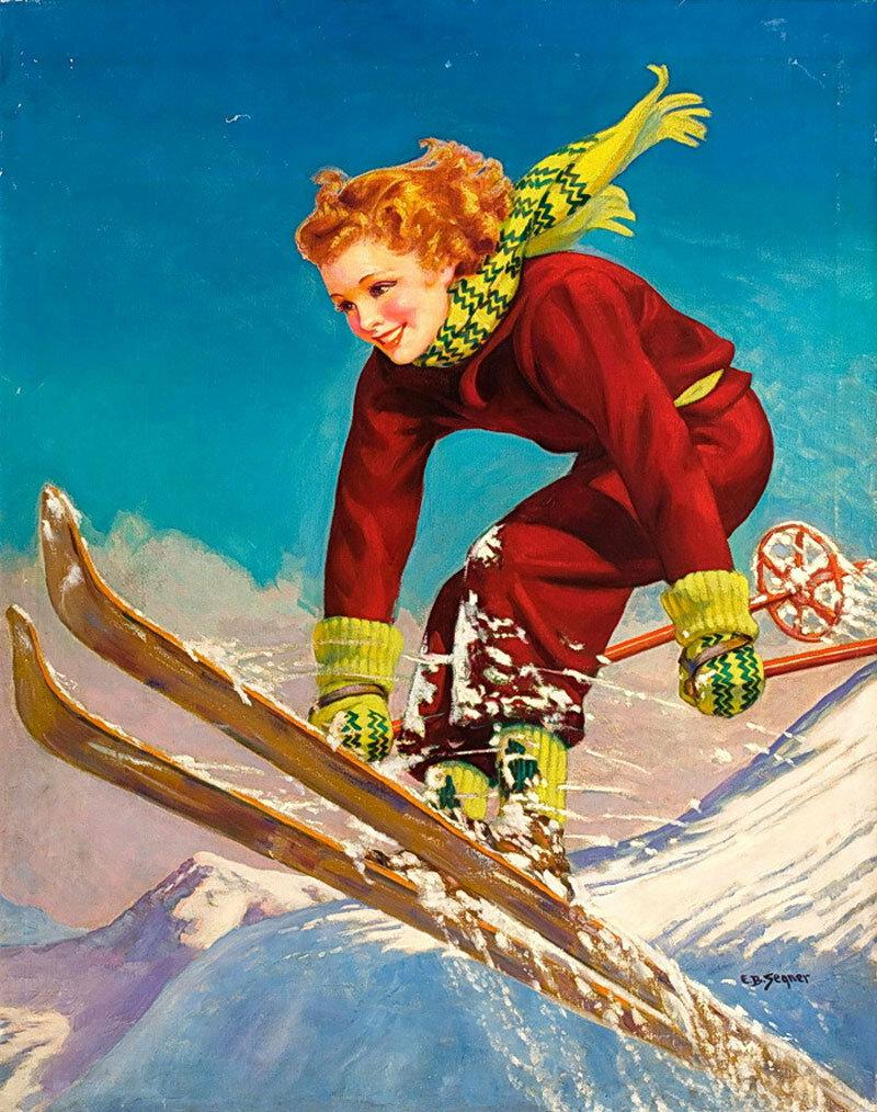 Хороший, открытка лыжника