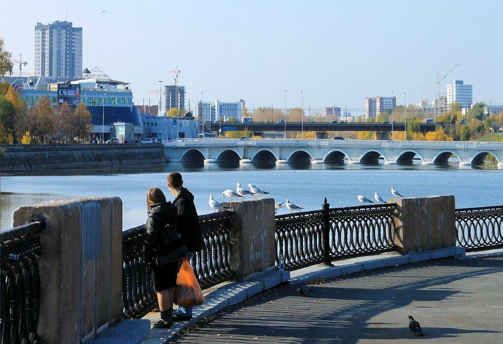 Тот же мост между Мегаполисом и Торговым центром). На заднем плане - мост по Свердловскому проспекту (23.01.2014)
