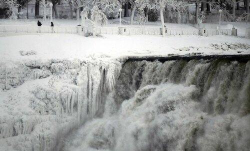 Из-за аномальных морозов в Америке замерз Ниагарский водопад