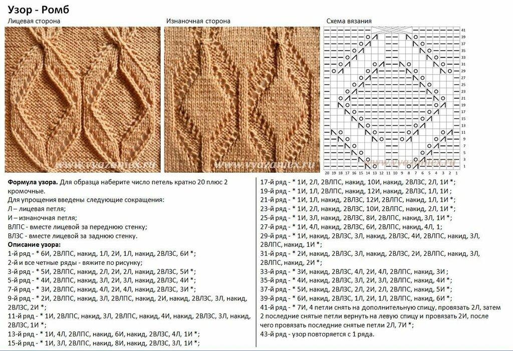 Вязание крупных узоров спицами схемы 12