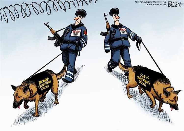 Служба безопасности олимпийского Сочи: Надписи на жилетах служебных псов -- Собака для поиска взрывчатки -- и -- Собака для поиска геев -- (Nate Beeler)