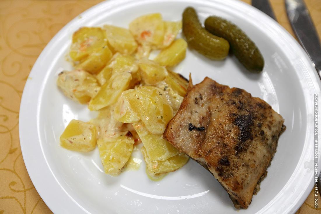 Рыба жареная (горбуша), картофель запеченный с майонезом
