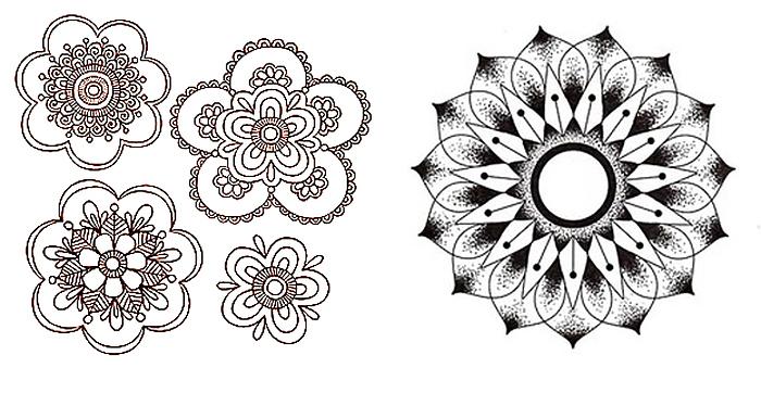 Рисунки мехенди и мандал в