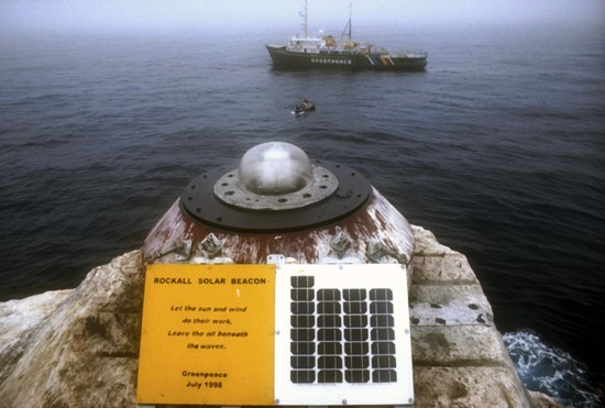 Greenpeace installed a solar powered light beacon on Rockall in 1998 as part of their Atlantic Frontier campaign,  using the  plinth of the damaged beacon.  The light, although slightly modified, was reported to be still functioning 6 months later.  (John