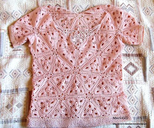 Ажурная блузка из мотивов крючком