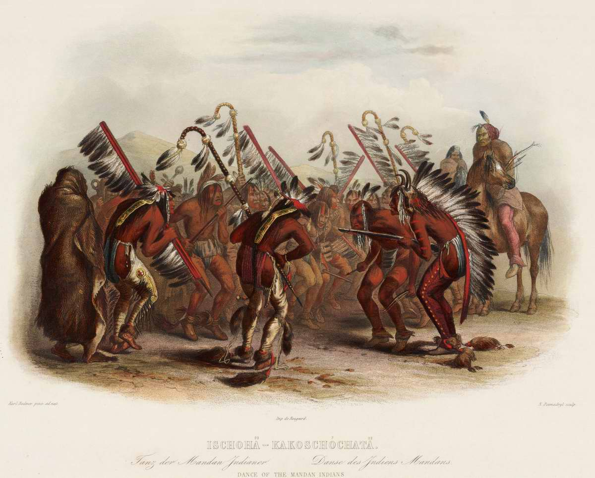 Боевой танец индейцев племени манданов - Karl Bodmer