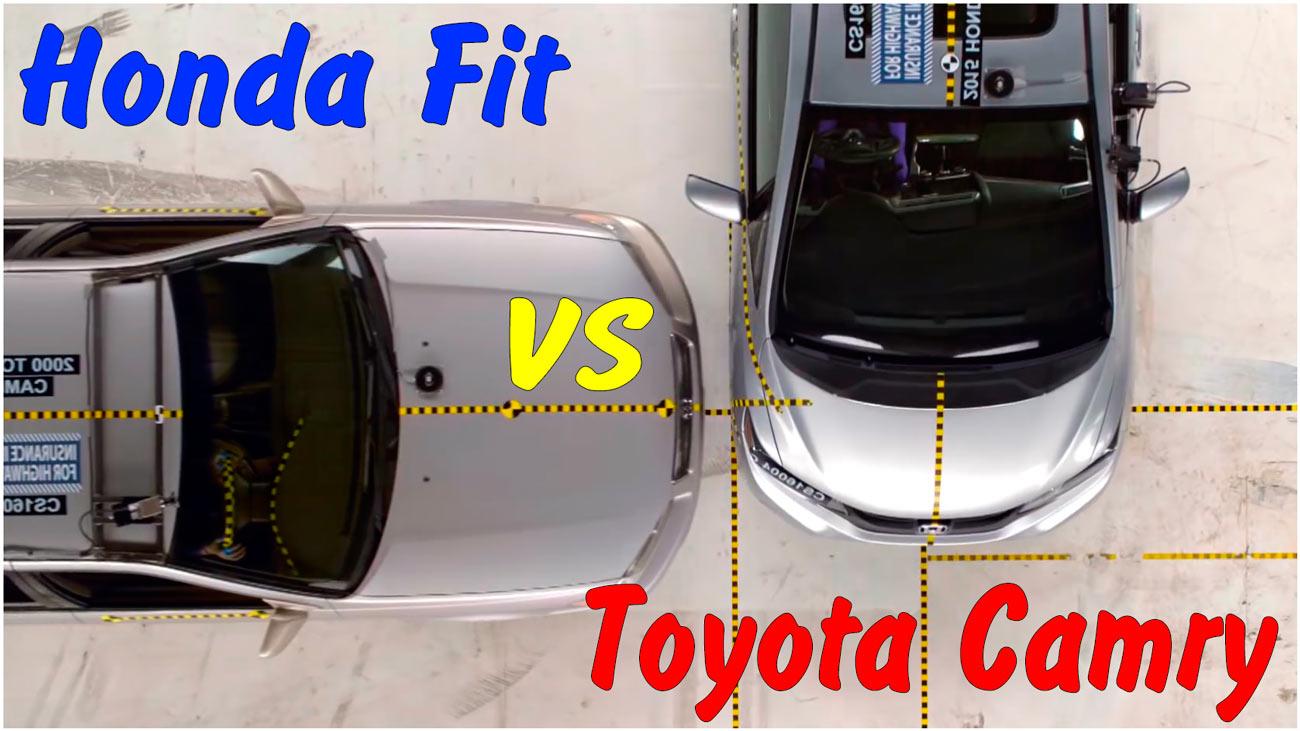 Высокоскоростные краш тесты автомобилей Honda Fit и Toyota Camry