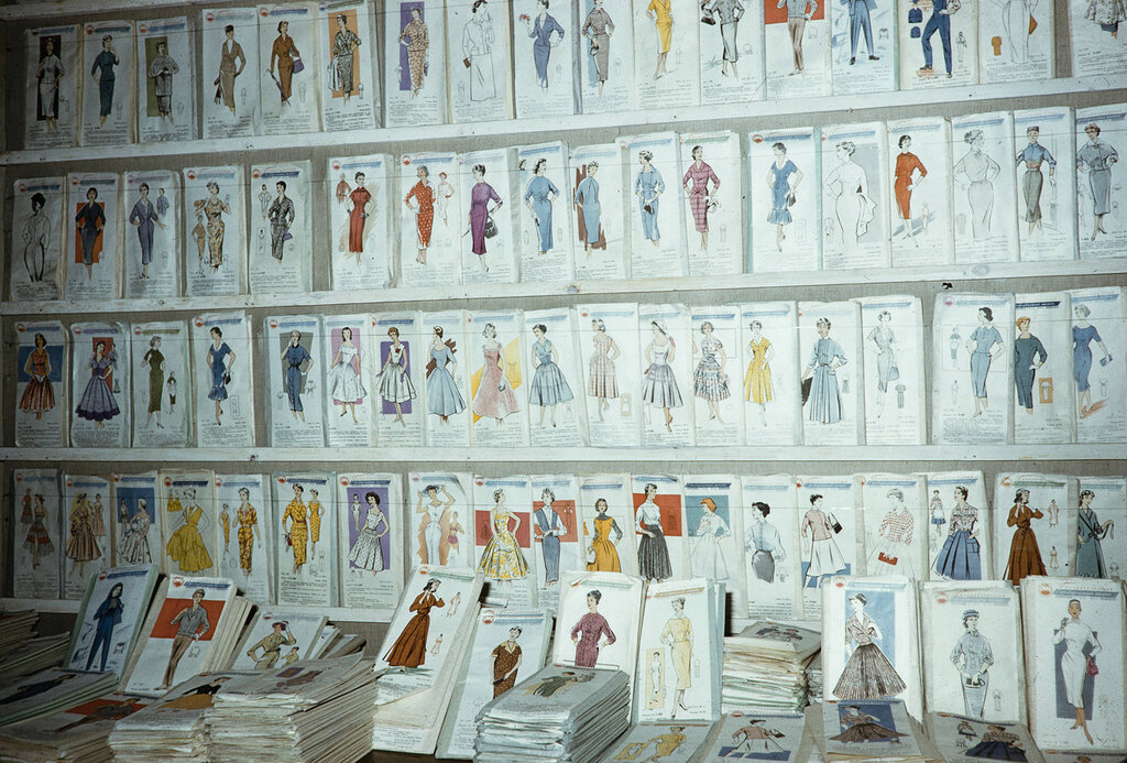 Russia, dress pattern display at store in Moscow