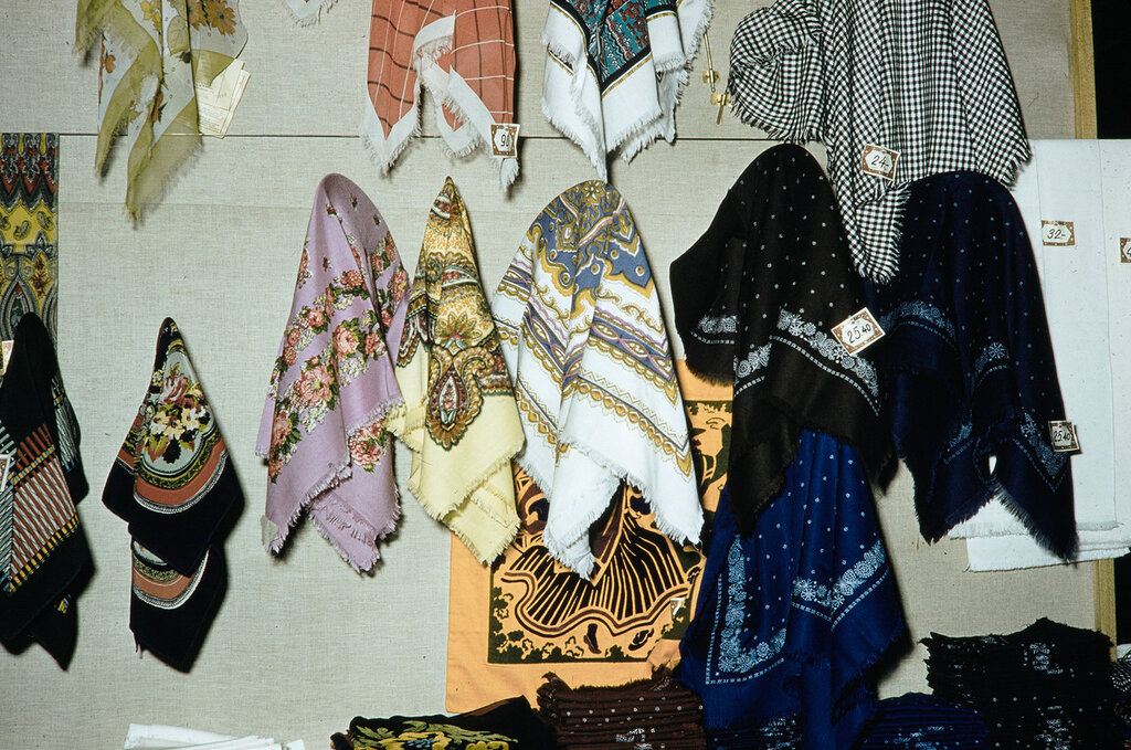 Russia, scarves displayed at store in Moscow