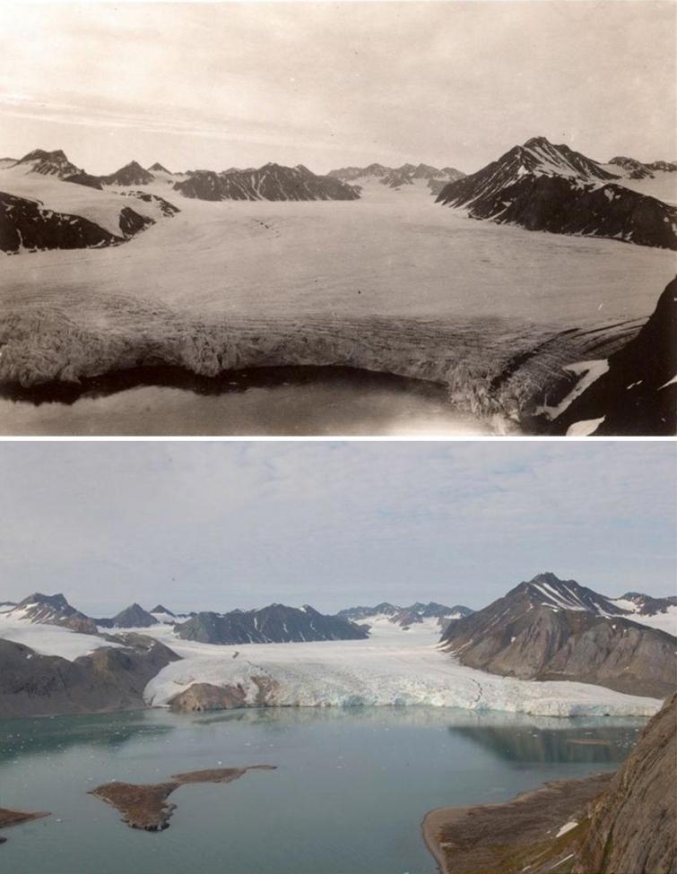 Шокирующие фотографии в стиле до и после, показывающие что изменение климата сделало с арктическими ледниками