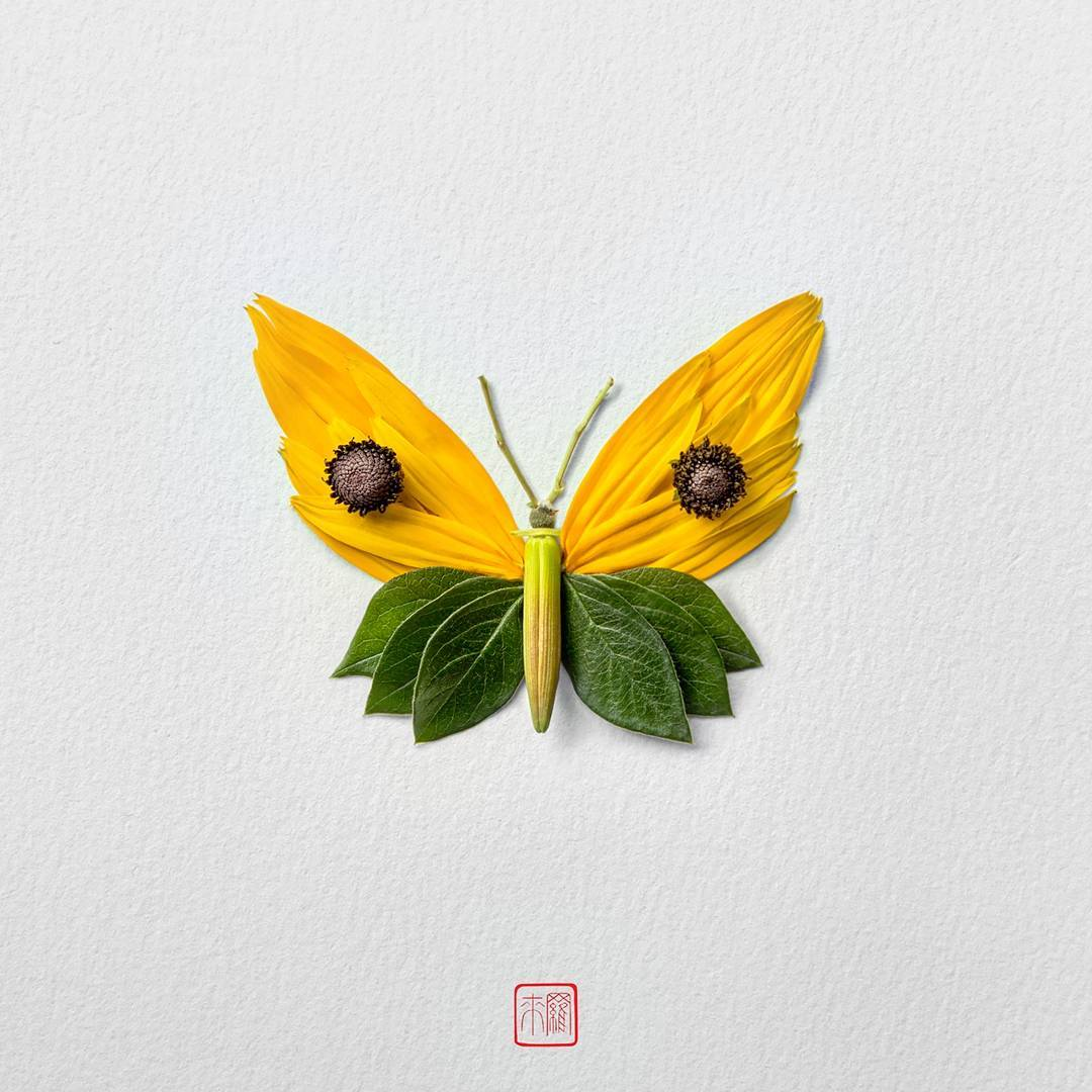 New Flower Arrangements Formed Into Exotic Butterflies and Moths by Raku Inoue