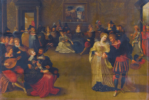 Circle of Frans Francken the Younger - A merry company music-making and dancing in an interior